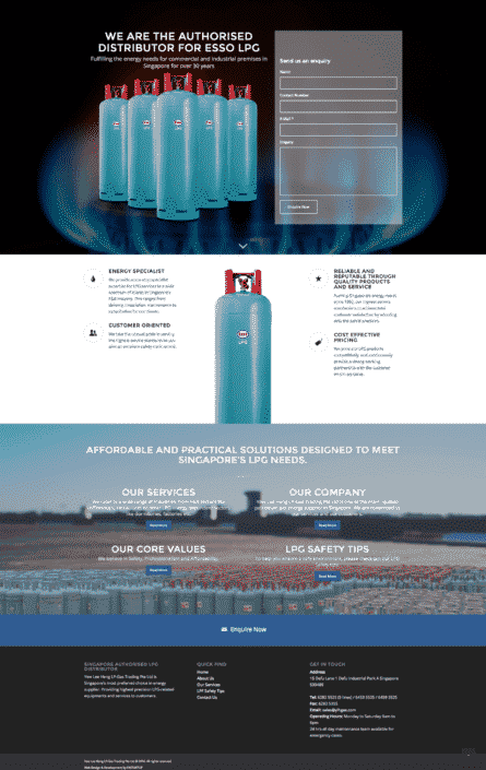 YLH Gas Pte Ltd Website Design