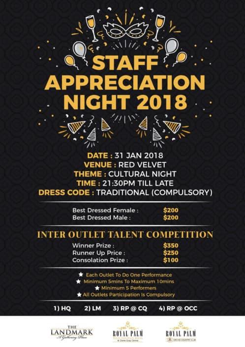 Staff Appreciation Poster Design for Singapore Hospitality Group